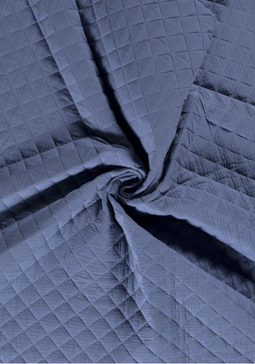 Tissu Double Gaze Matelassé - Bleu orageux