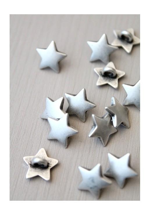 Bouton étoile argent