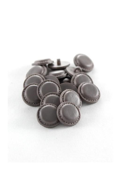 Bouton imitation cuir gris brun