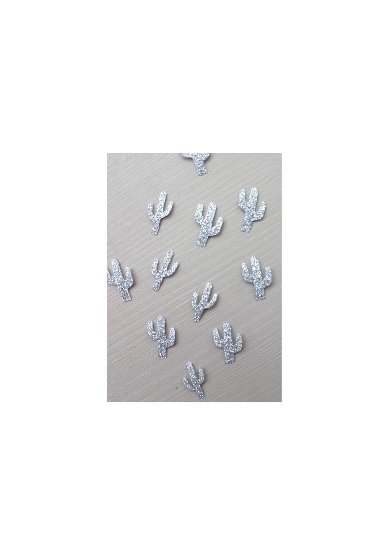 30 mini thermocollants cactus argentés