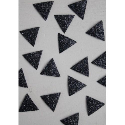 30 mini thermocollants triangles noir glitter