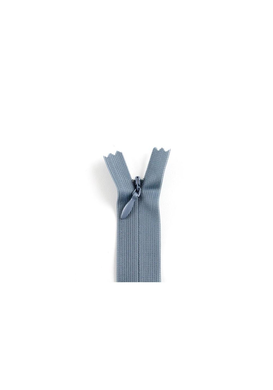 Fermeture invisible grise bleutée