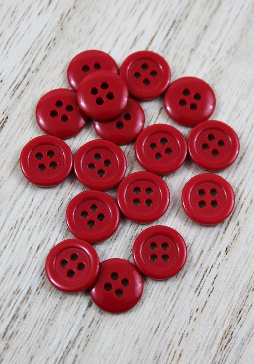 Bouton polyester - Rouge