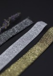 Elastique noir lurex 20mm - Argent