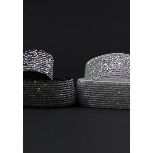 Elastique noir lurex 20mm - Or