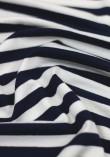 Tissu jersey viscose à grosses rayures - Bleu marine