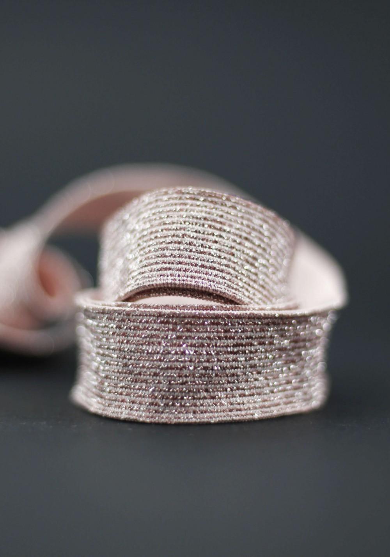 Elastique lurex 20mm - Rose poudré