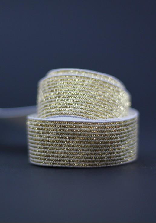 Elastique blanc lurex 20mm - Or clair
