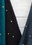 Tissu double gaze à pois or - Noir