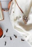 Tissu double gaze à pois or - Off White