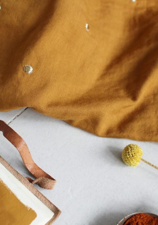 Tissu double gaze à pois or Stardust - Ochre