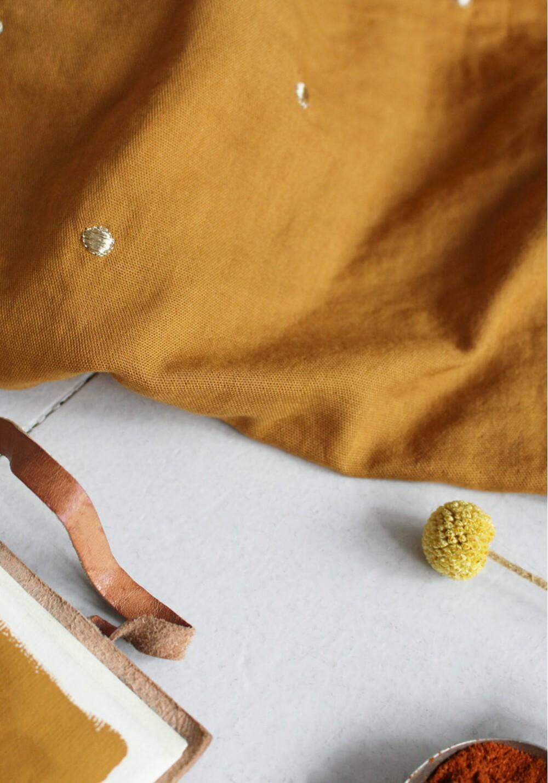 Tissu double gaze à pois or - Ochre