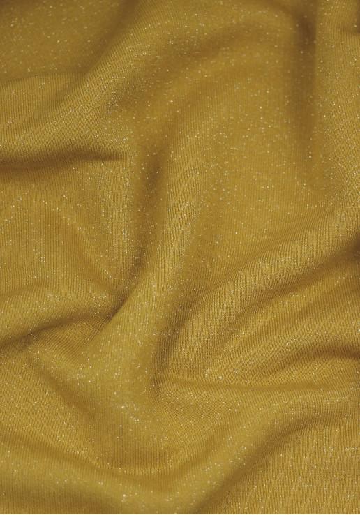 Tissu molleton à paillettes argent - Moutarde
