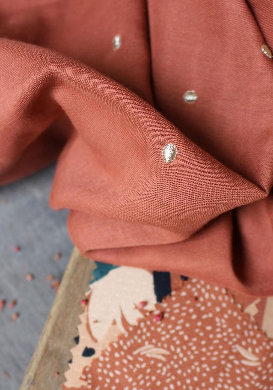 Tissu double gaze à pois or Stardust - Chestnut