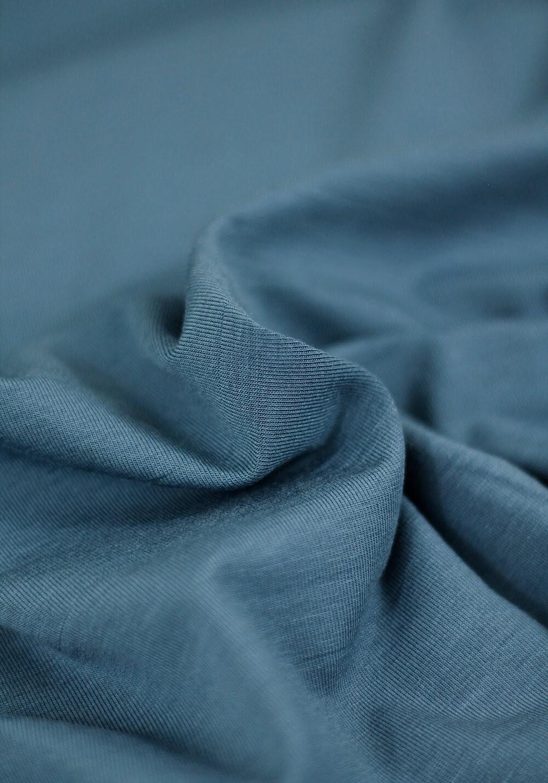 Tissu Jersey Bambou - Bleu acier