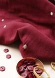Tissu double gaze à pois or Stardust - Amarante