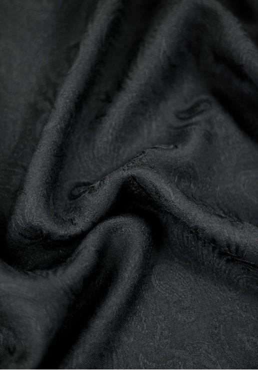 Tissu viscose jacquard Paisley - Noir