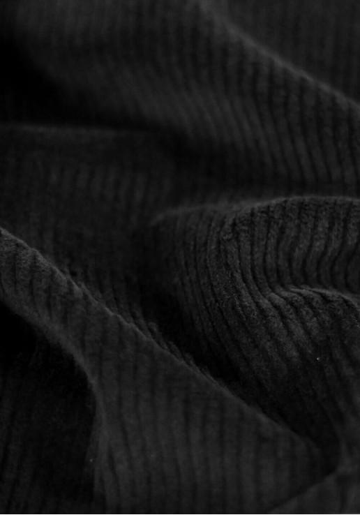 Tissu velours moyennes côtes stretch - Noir