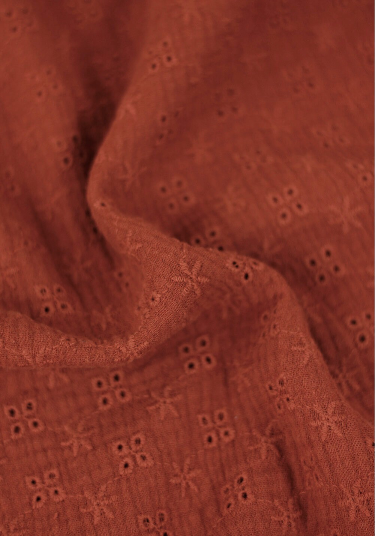 Tissu double gaze brodée - Terracotta