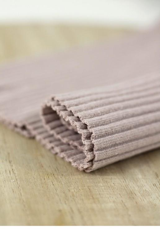 Tissu jersey tubulaire bord-côte épais - Rose poudré