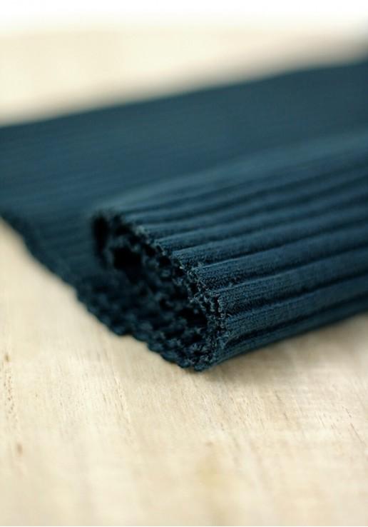 Tissu jersey tubulaire bord-côte épais - Bleu pétrole