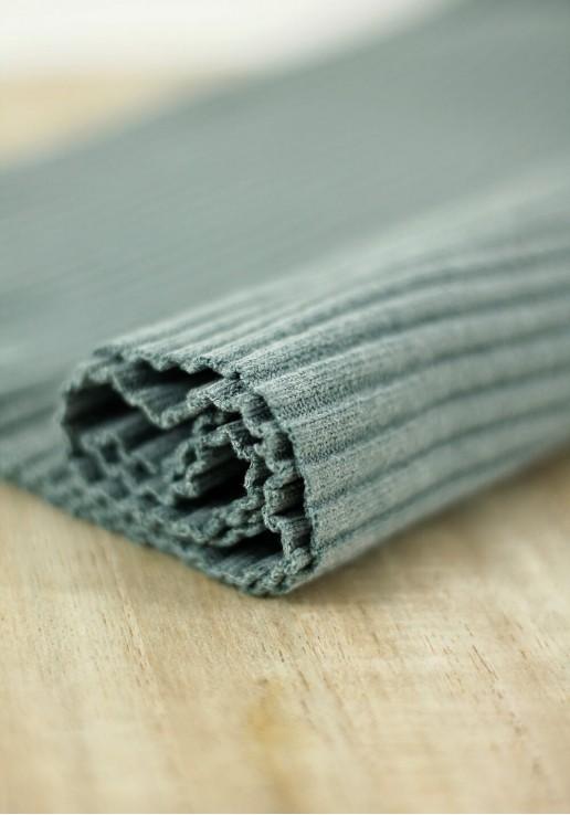 Tissu jersey tubulaire bord-côte épais - Thé