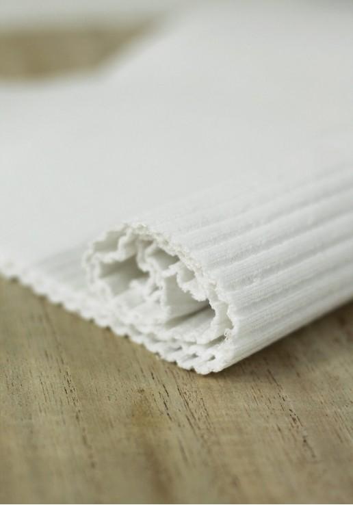 Tissu jersey tubulaire bord-côte épais - Blanc