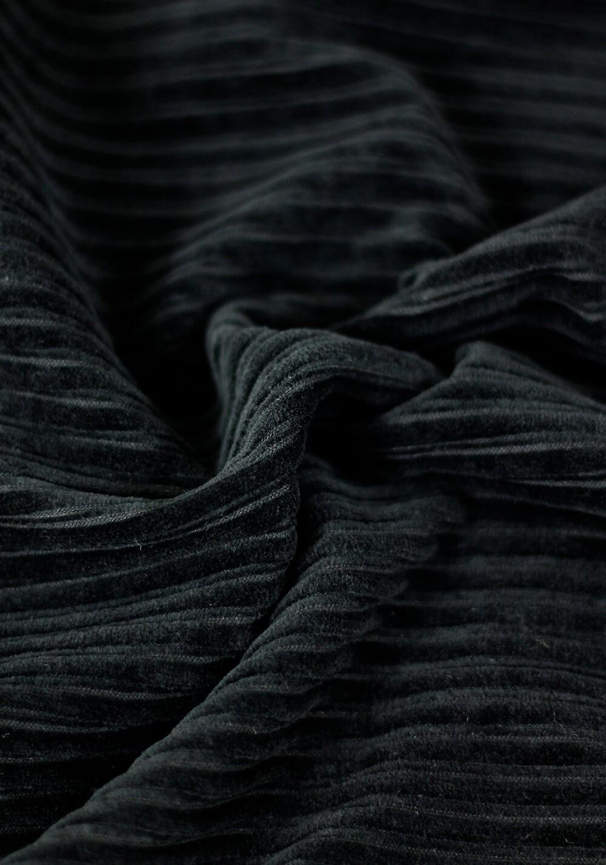 Tissu jersey de velours côtelé - Noir