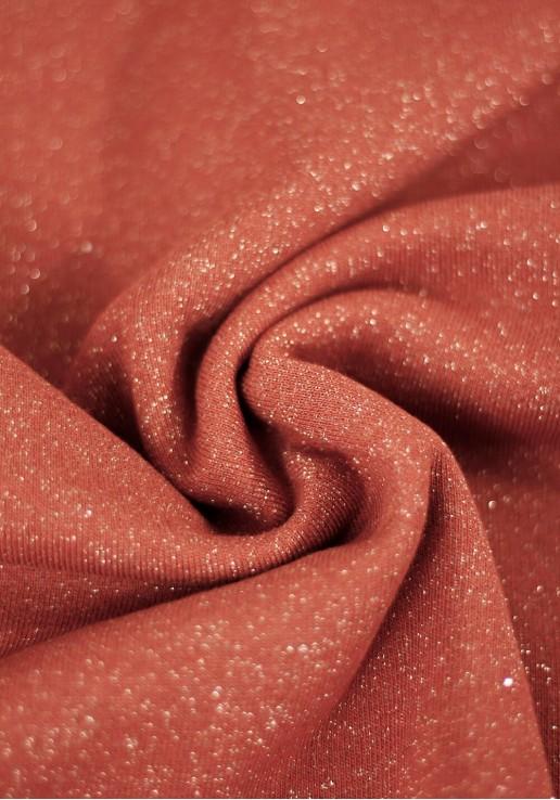 Tissu molleton à paillettes argent - Terracotta