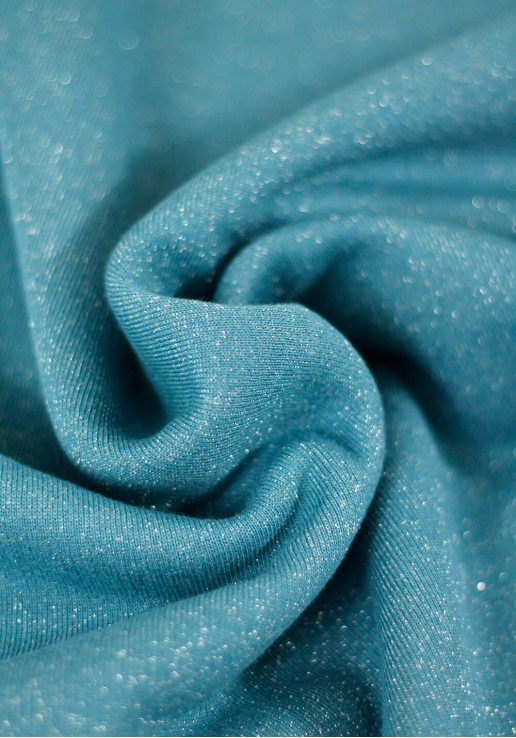 Tissu molleton à paillettes argent - Azur