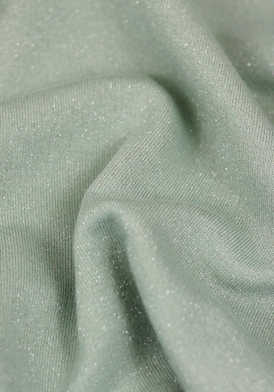 Tissu molleton à paillettes argent - Vert d'eau
