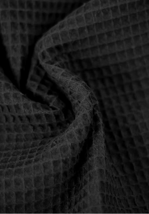 Tissu nid d'abeille en coton - Noir