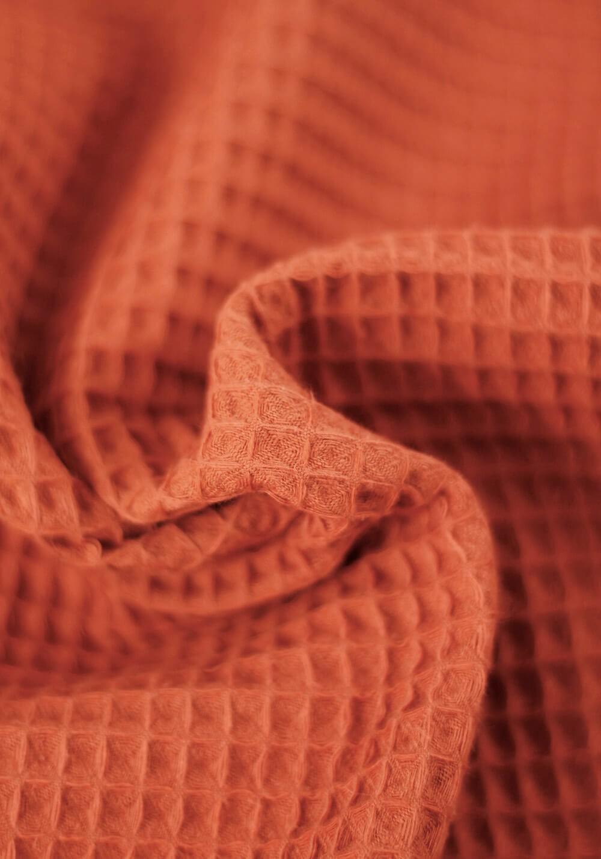 Tissu nid d'abeille en coton - Rouille