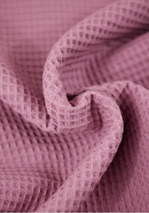 Tissu nid d'abeille en coton - Vieux Rose