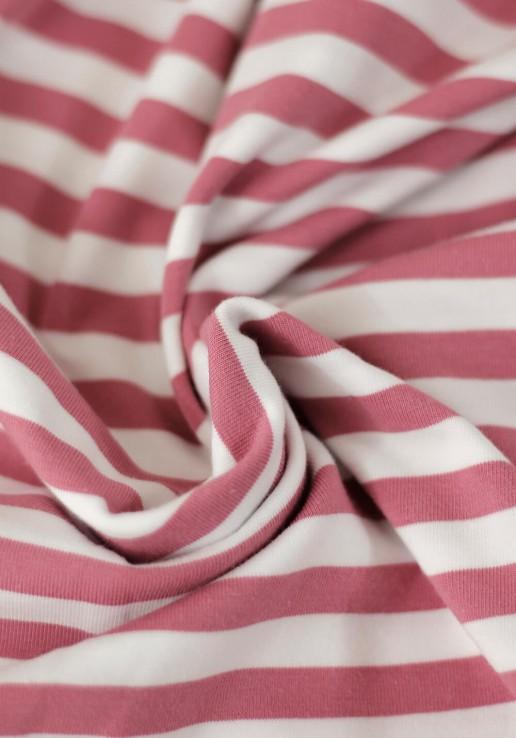 Tissu marinière jersey de coton - Bois de rose