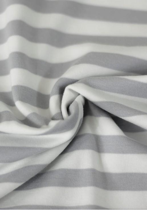 Tissu marinière jersey de coton - Gris souris