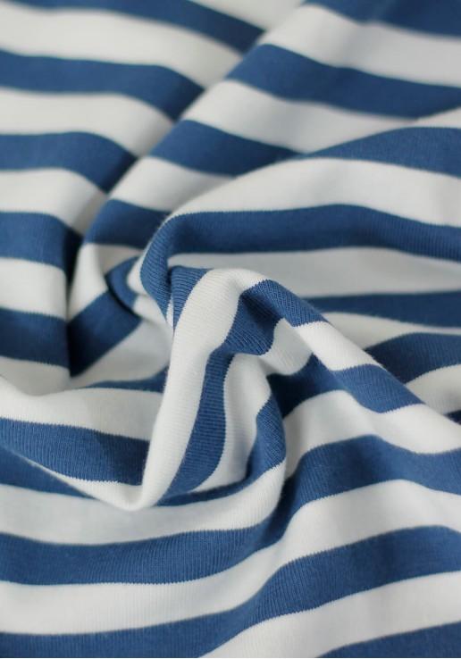 Tissu marinière jersey de coton - Bleu cobalt