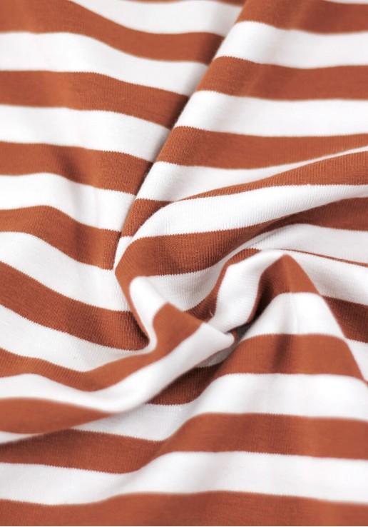 Tissu marinière jersey de coton - Rouille
