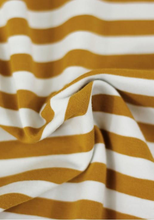 Tissu marinière jersey de coton - Moutarde