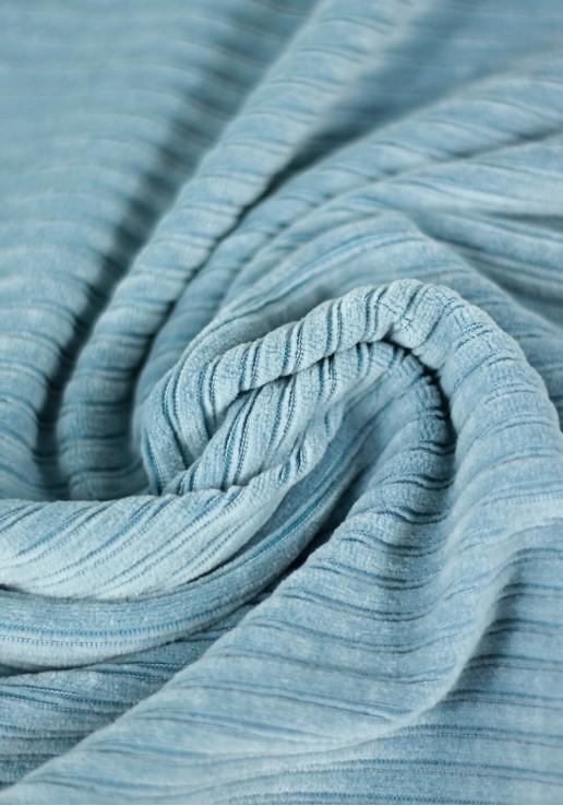 Tissu jersey de velours côtelé - Light Blue