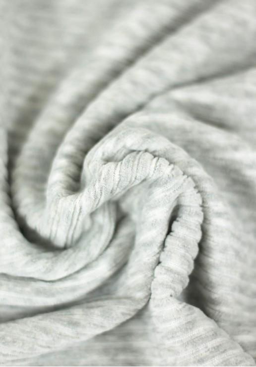 Tissu jersey de velours côtelé - Gris clair chiné