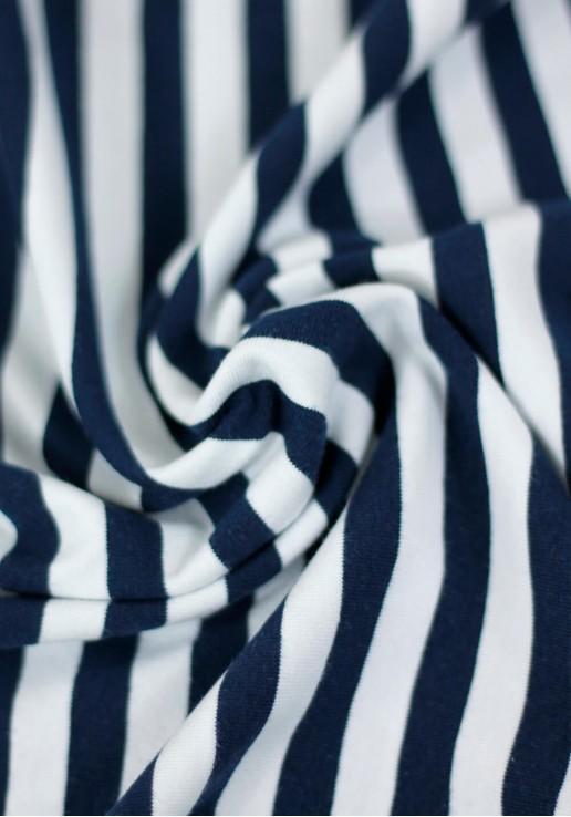Tissu marinière jersey de coton - Bleu marine