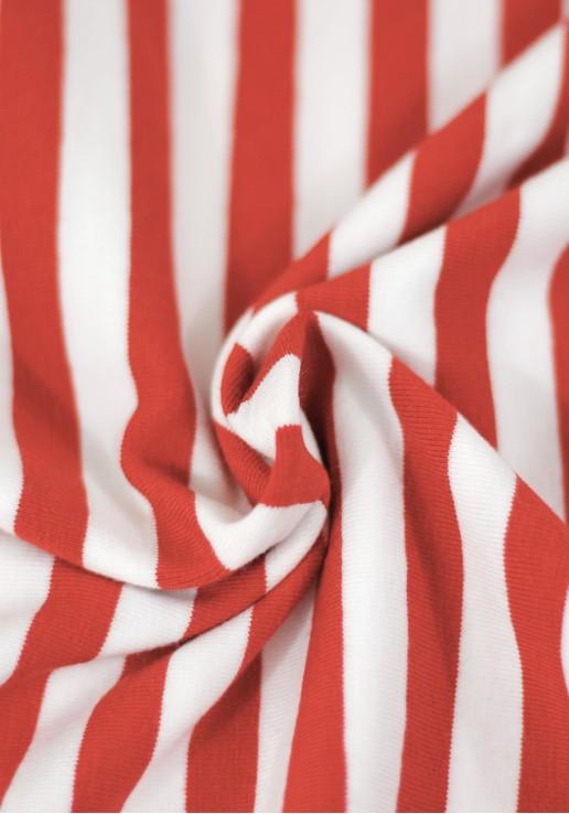 Tissu marinière jersey de coton - Rouge
