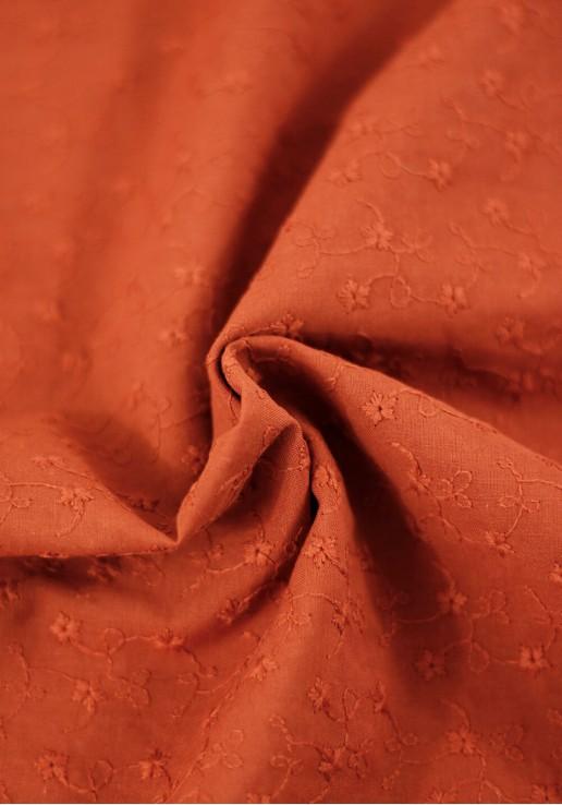Tissu Brodé Festonné Fleuri - Terracotta