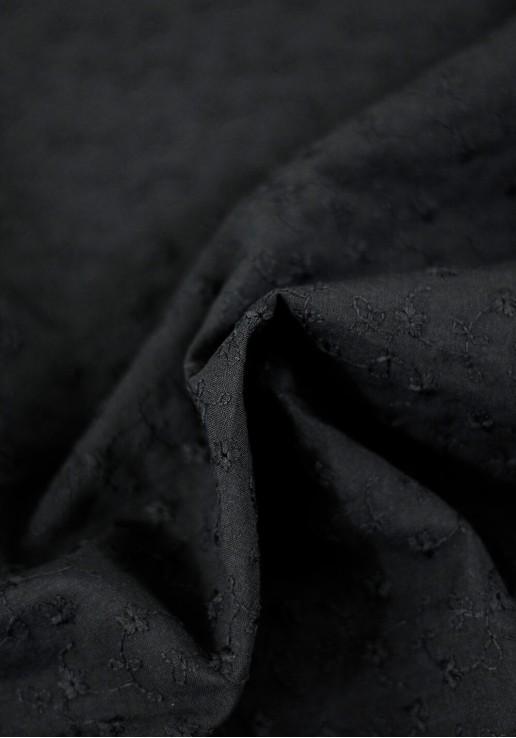Tissu Brodé Festonné Fleuri - Noir