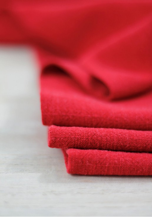 Tissu Lin Viscose - Rouge