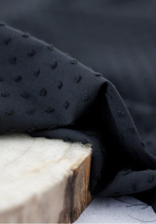 Tissu plumetis de coton - Noir