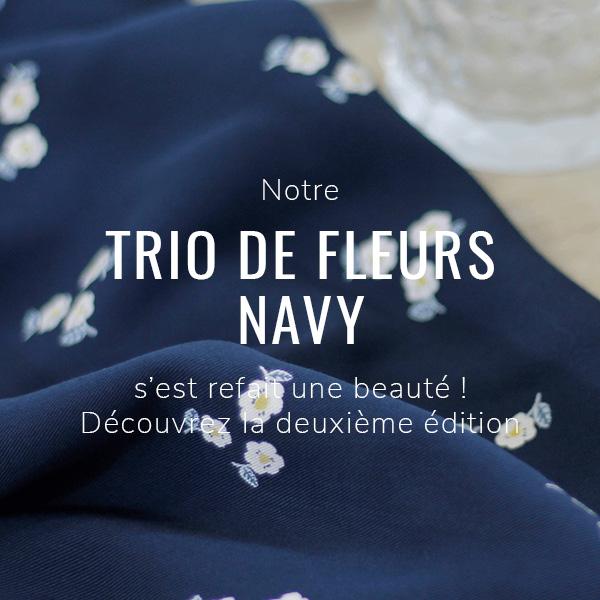Tissu twill de viscose Trio de Fleur navy