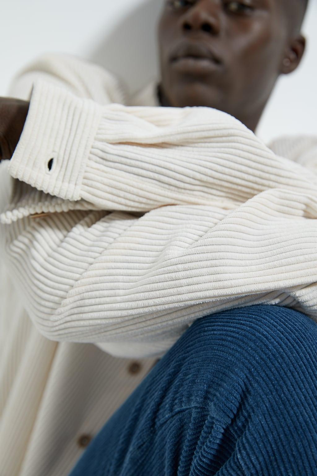 Inspiration d'un modèle de veste en velour grosses côtes de Zara men
