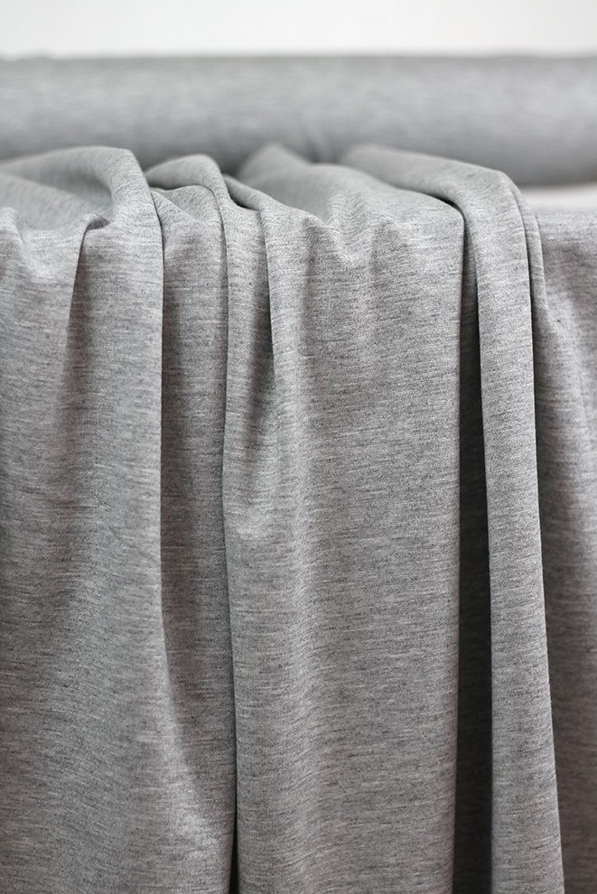 Tissu jersey milano de couleur gris chiné